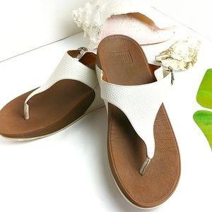 FitFlop T-Strap Sandal White Size 10